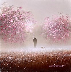 Cherry Blossom by John Waterhouse -  sized 4x4 inches. Available from Whitewall Galleries